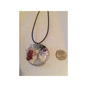 None Jewelry - 7 Chakra Healing Tree Of Life Pendent